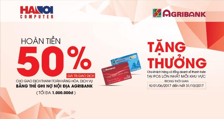 Hoàn tiền 50% khi giao dịch bằng thẻ Agribank