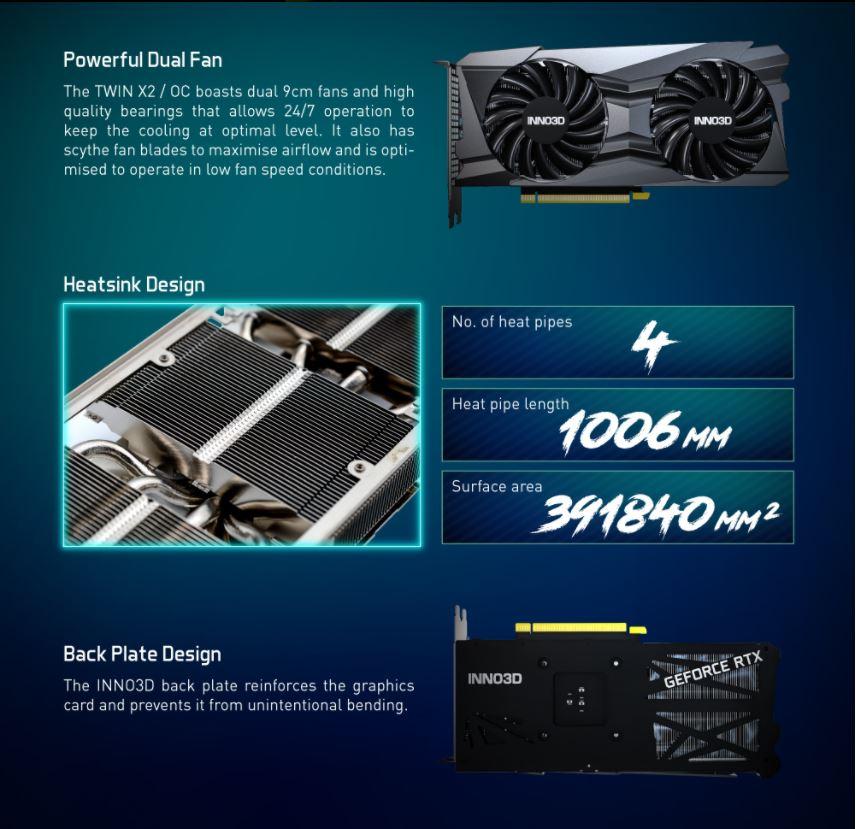 Card màn hình Inno3D RTX 3060 Ti Twin X2 OC