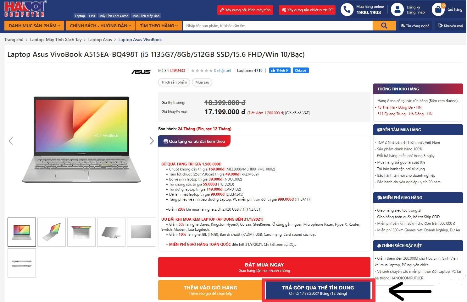 Hướng dẫn mua hàng trả góp tại Hanoicomputer