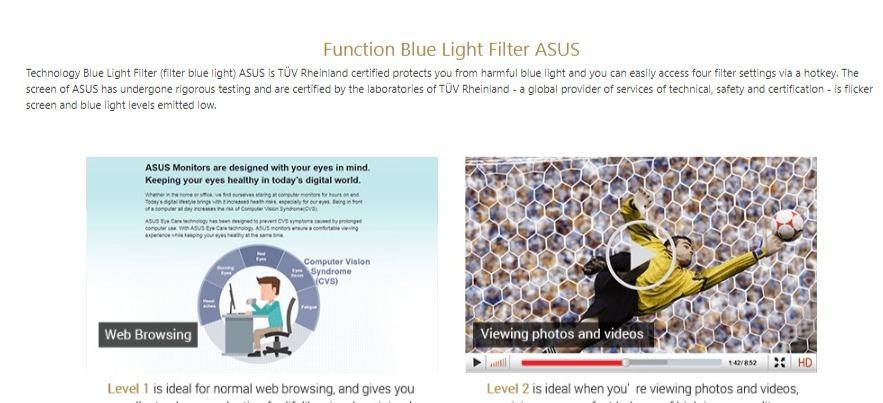 Màn hình ASUS VA24EHE lọc ánh sáng xanh