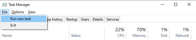 Tại mục File > bạn click vào Run new task sau đó nhấn chọn OK