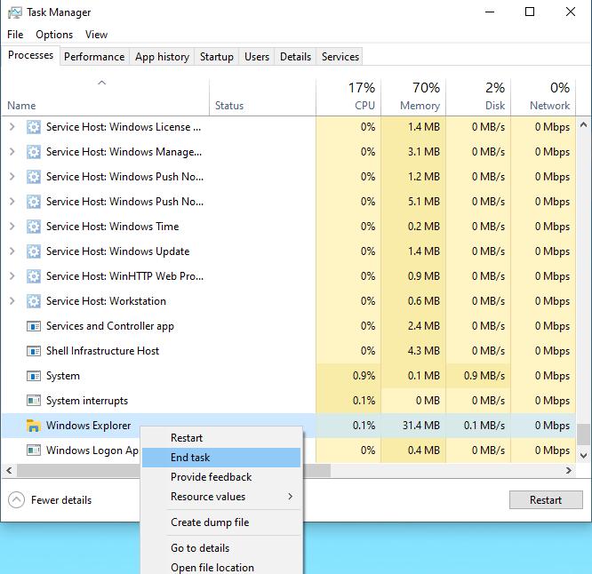 Chọn mục Processes tới Windows Explorer click chụp phải chọn End Task