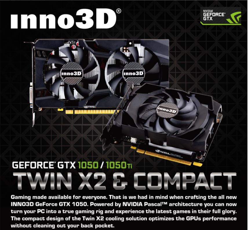 Card màn hình Inno3D GTX 1050Ti Twin X2 4GB GDDR5