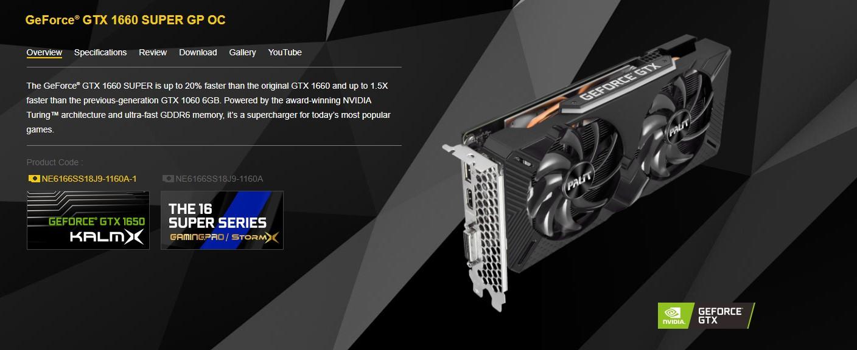 Card màn hình Palit GTX 1660 Super GP 6G