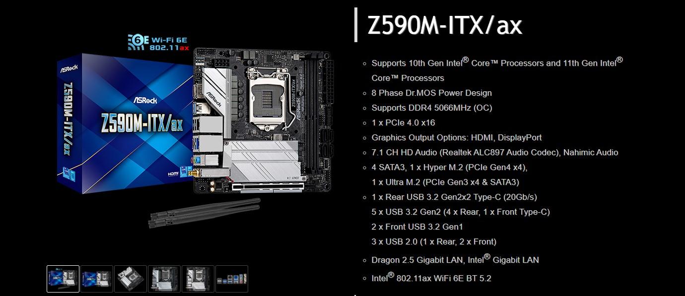 Mainboard ASROCK Z590M ITXax