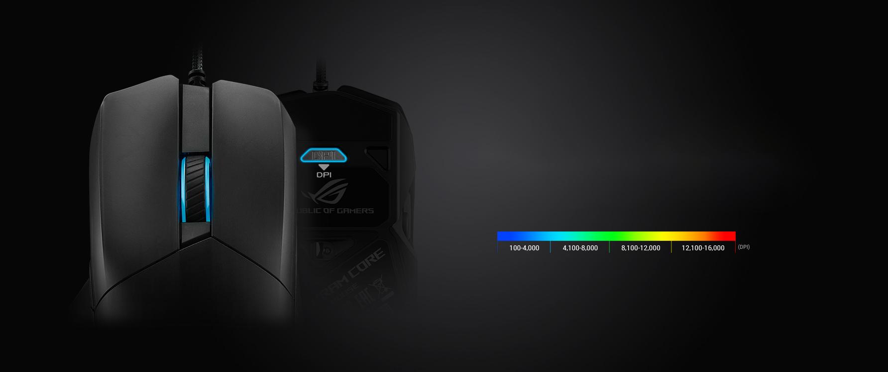 Chuột chơi game Asus ROG Chakram Core (P511) (USB/RGB/Đen) có thể tuỳ chỉnh DPI trực tiếp không cần phần mềm