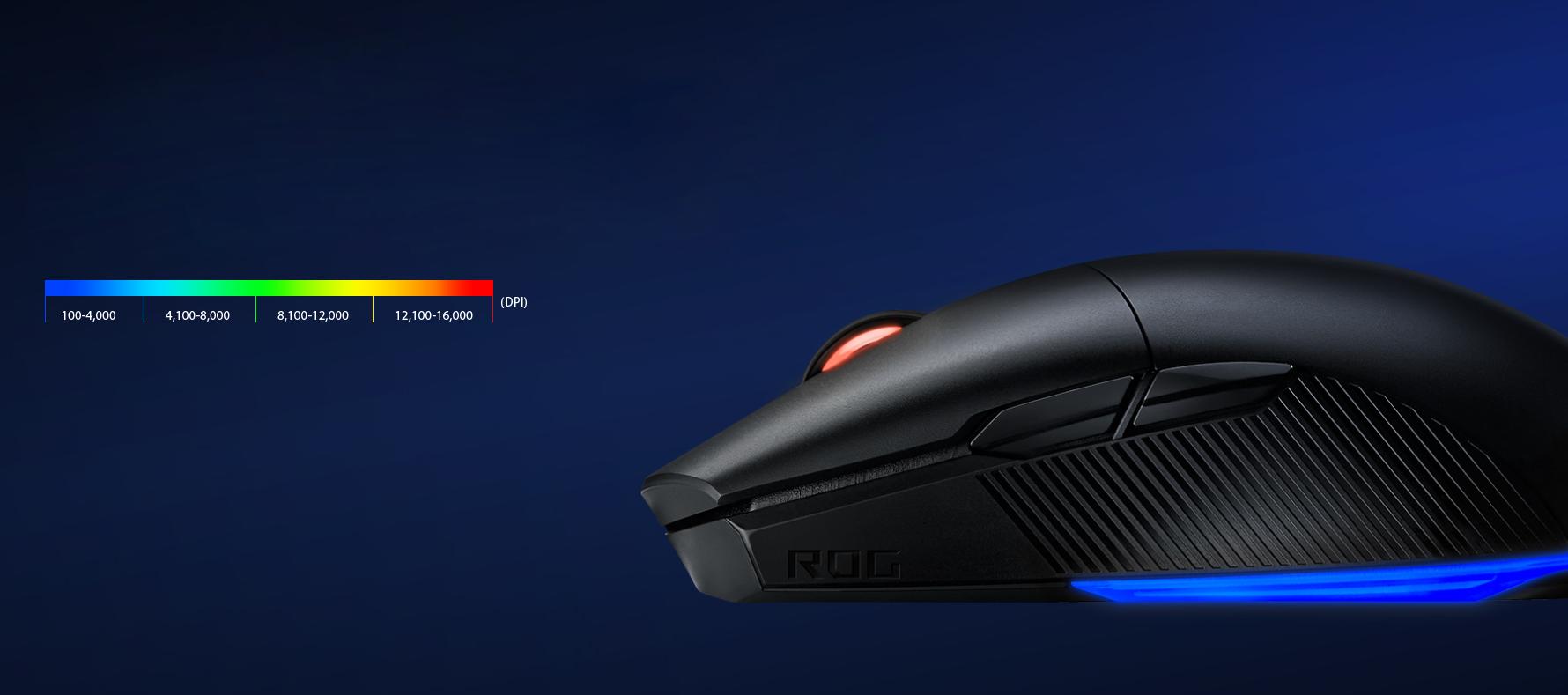 Chuột không dây chơi game Asus ROG Pugio II (P705) (USB/RGB/Đen) có thể tuỳ chỉnh DPI dễ dàng