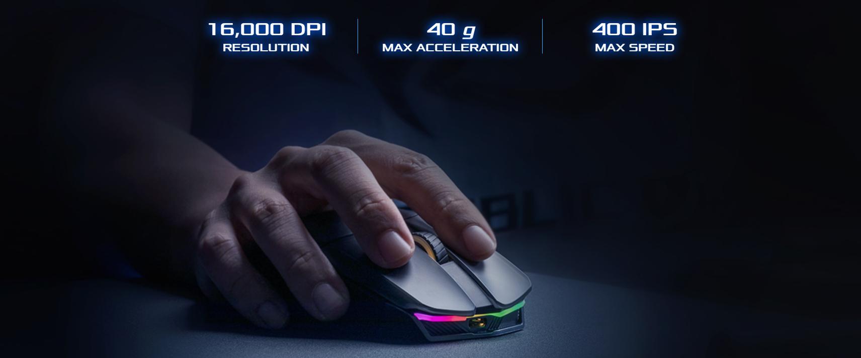 Chuột không dây chơi game Asus ROG Chakram (P704) (USB/RGB/Đen) trang bị mắt cảm biến cao cấp