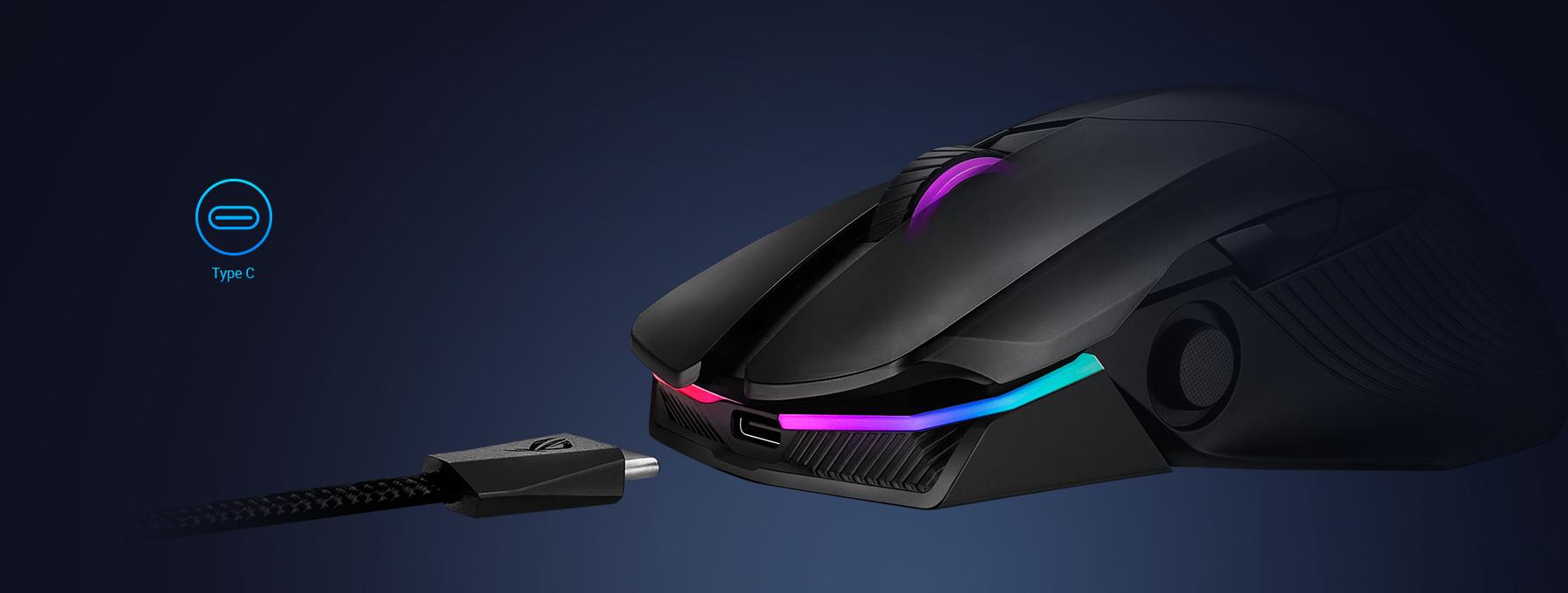Chuột không dây chơi game Asus ROG Chakram (P704) (USB/RGB/Đen) có tính năng sạc nhanh