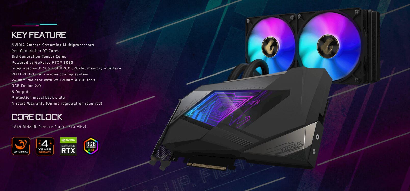 Card màn hình Gigabyte RTX 3080 AORUS XTREME WATERFORCE-10GD