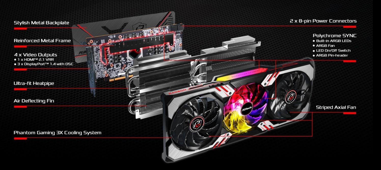 Card màn hình Asrock RX 6700 XT Phantom Gaming D
