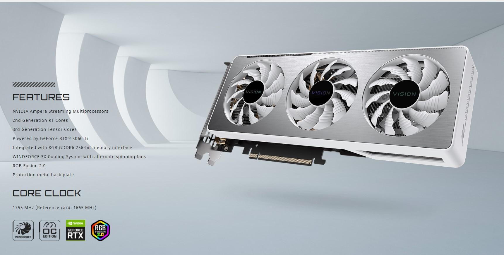 Card màn hình Gigabyte RTX 3060 Ti VISION OC-8GD