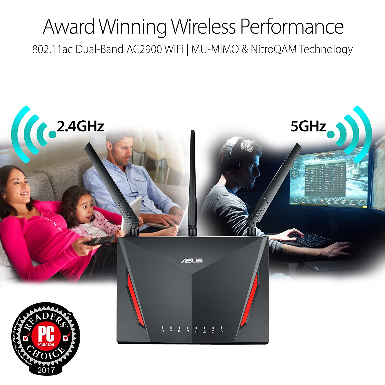ASUS RT-AC86U (Gaming Router) Wifi AC2900 2 băng tần, AiMesh 360 WIFI Mesh, WTFast, AiProtection, chipset Broadcom USB 3.0 17